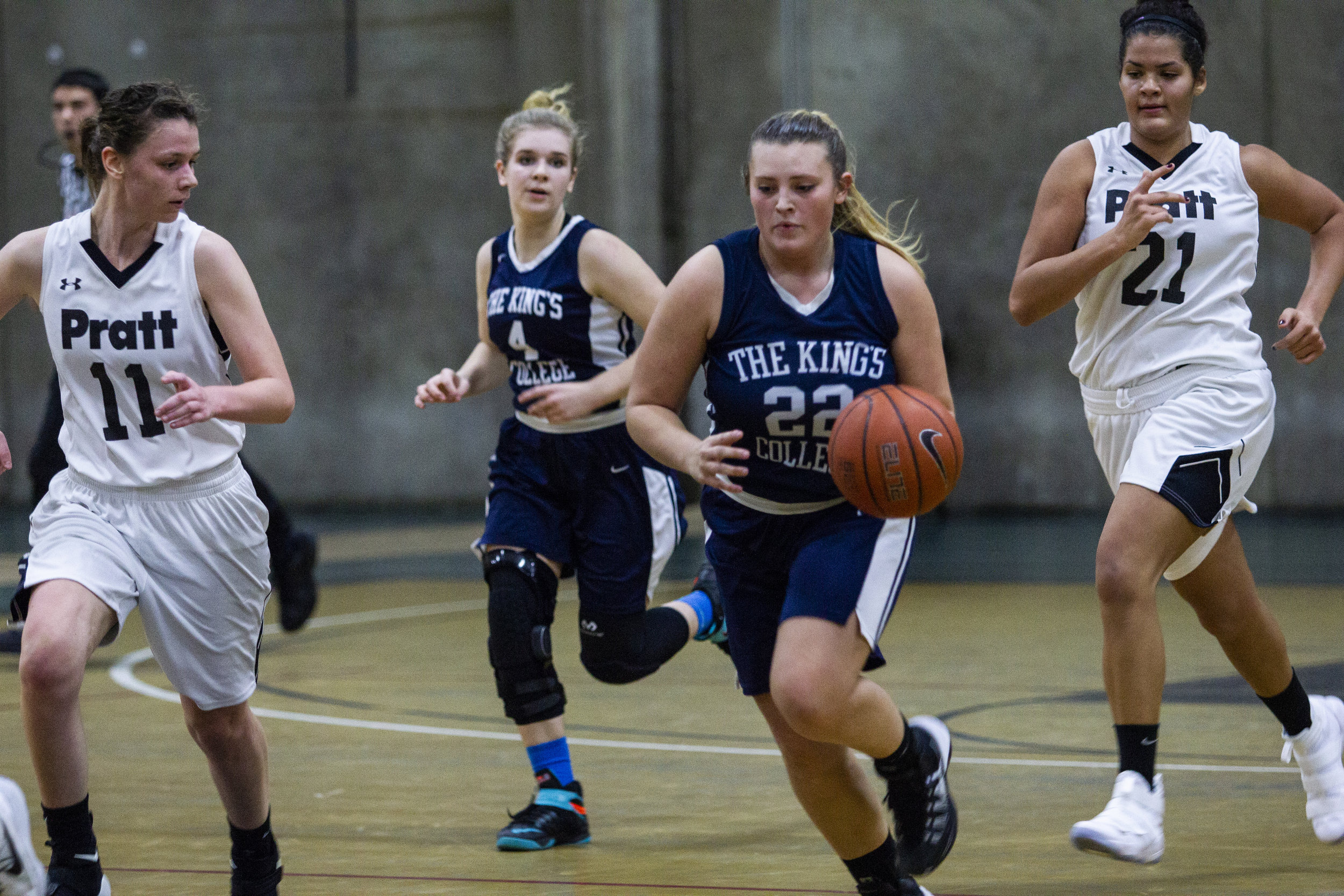 Sophomores Bailey Kauffman and Catie Shoemaker in The King's College vs Pratt game in the 2017-2018 season || Photo Credits Bernadette Berdychowski