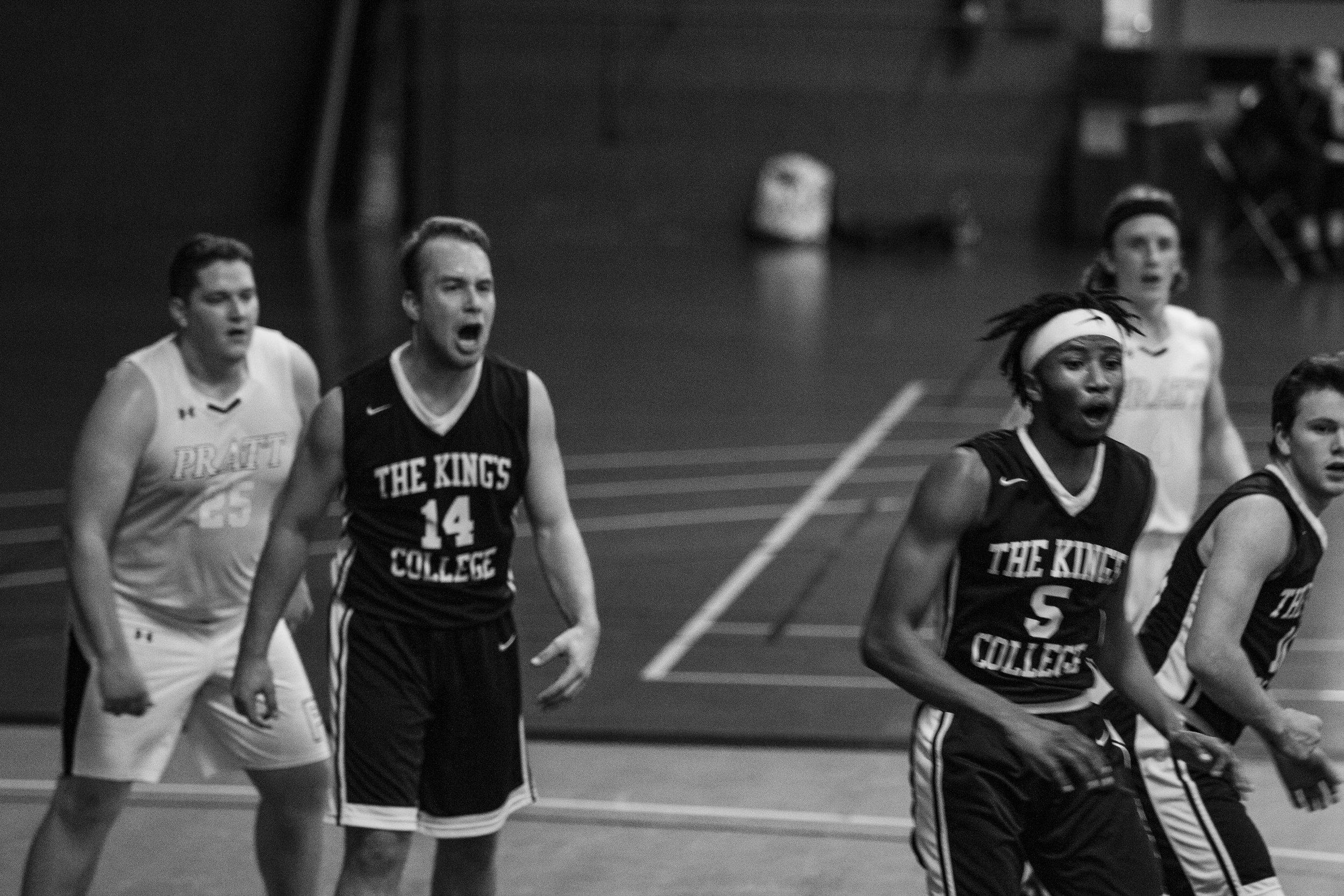 Senior Luke Borchelt in The King's College vs Pratt game in the 2017-2018 season || Photo Credits Bernadette Berdychowski