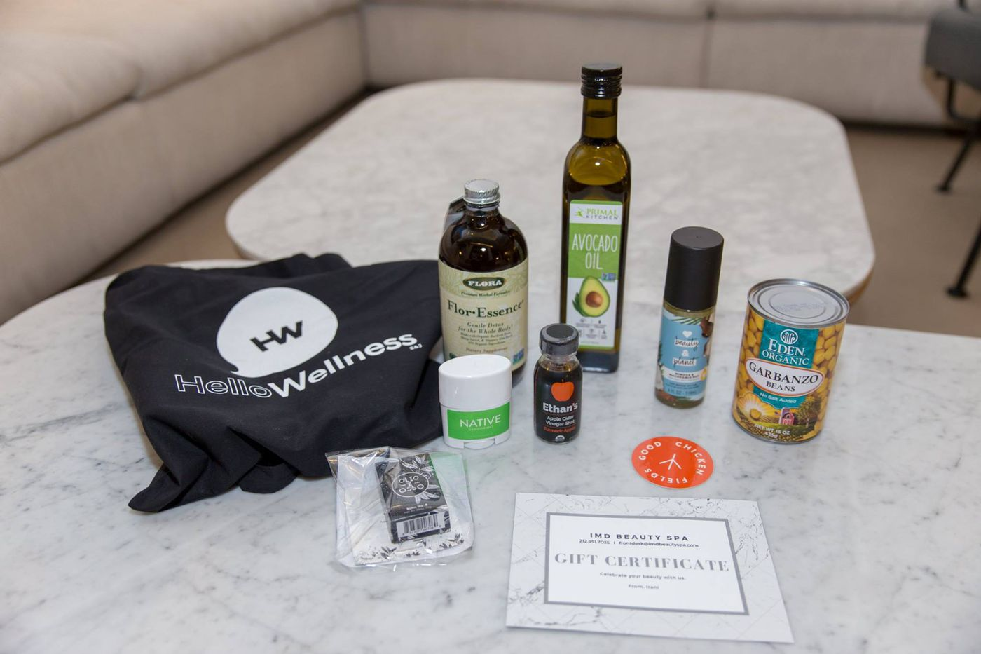 This event's swag-bag included this layout of items. || Photo Credit to sayhellowellness.com
