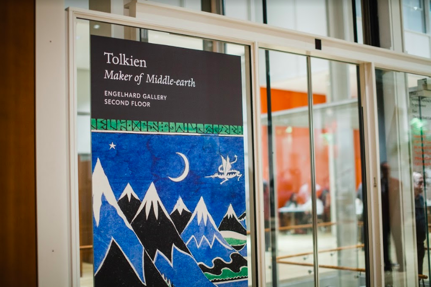 """Poster of the """"Tolkien: Maker of Middle-earth"""" exhibit hangs in the Morgan Library. 