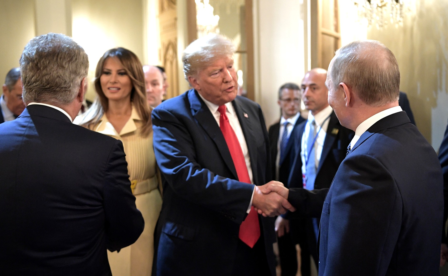 After the joint news conference of President of Russia Vladimir Putin and US President Donald Trump. First Lady of the United States Melania Trump (in the background). || Photo credit to the  Kremlin.