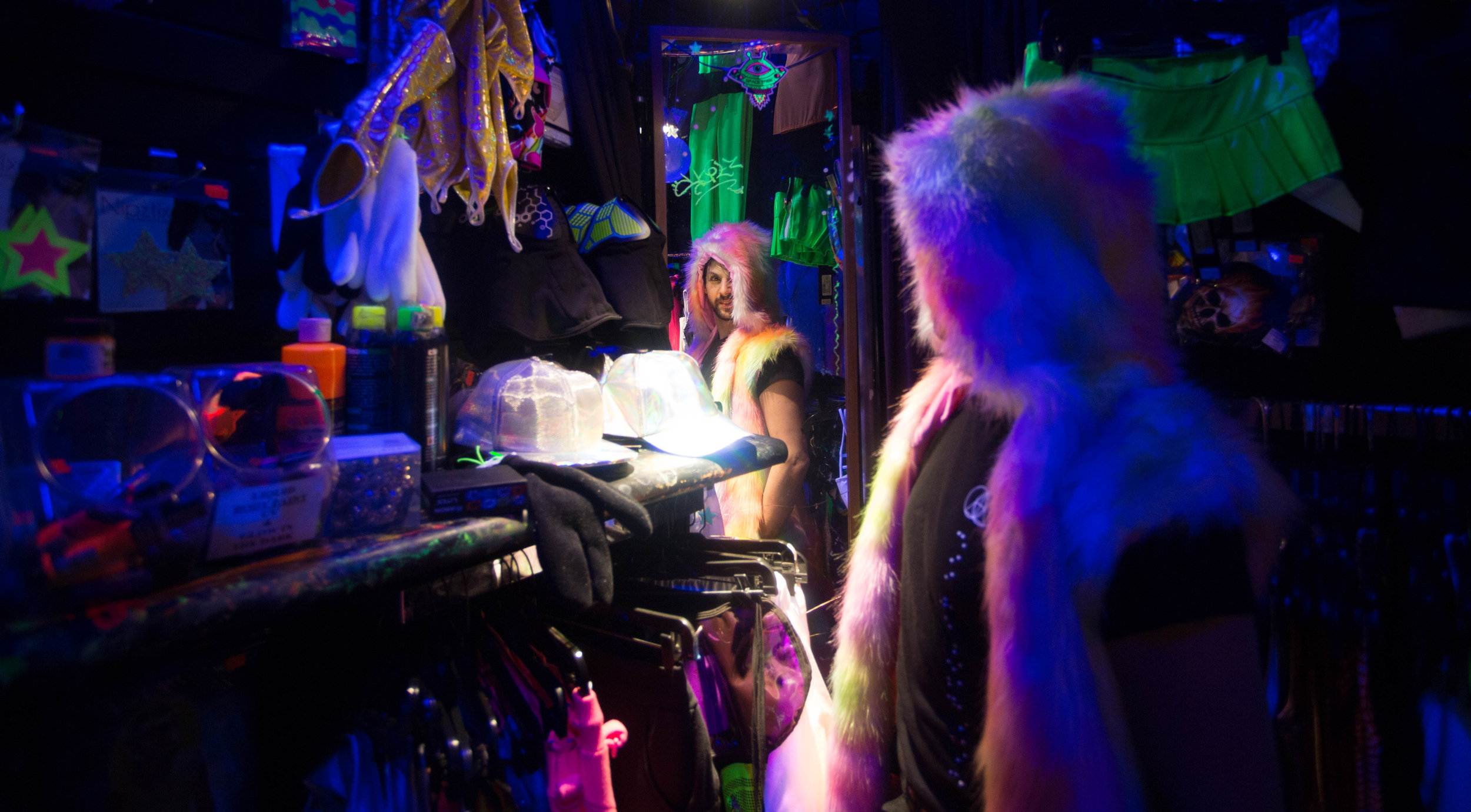 Adam Pyrate visits Goth Renaissance from Baltimore to check out new gear for his goth/trip wardrobe. In New York on Saturday, March 31, 2019.    Photo credit to Wes Parnell for EST.
