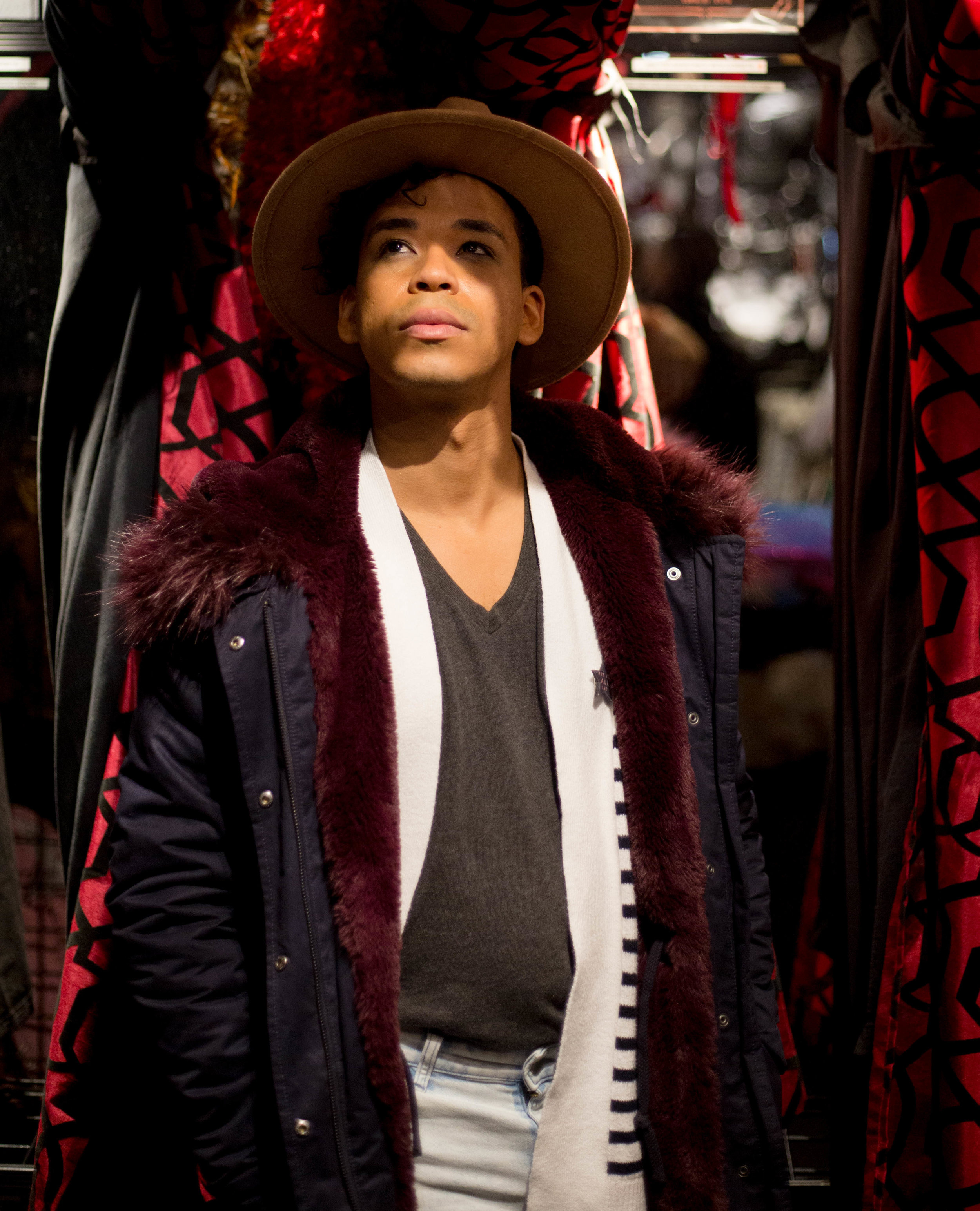 Roy Guia shops looks at new outfits for his upcoming drag queen show. Goth Renaissance is New York's premier one stop shop for all goth and showtime needs. In New York on Saturday, March 31, 2019. (Wes Parnell for EST)