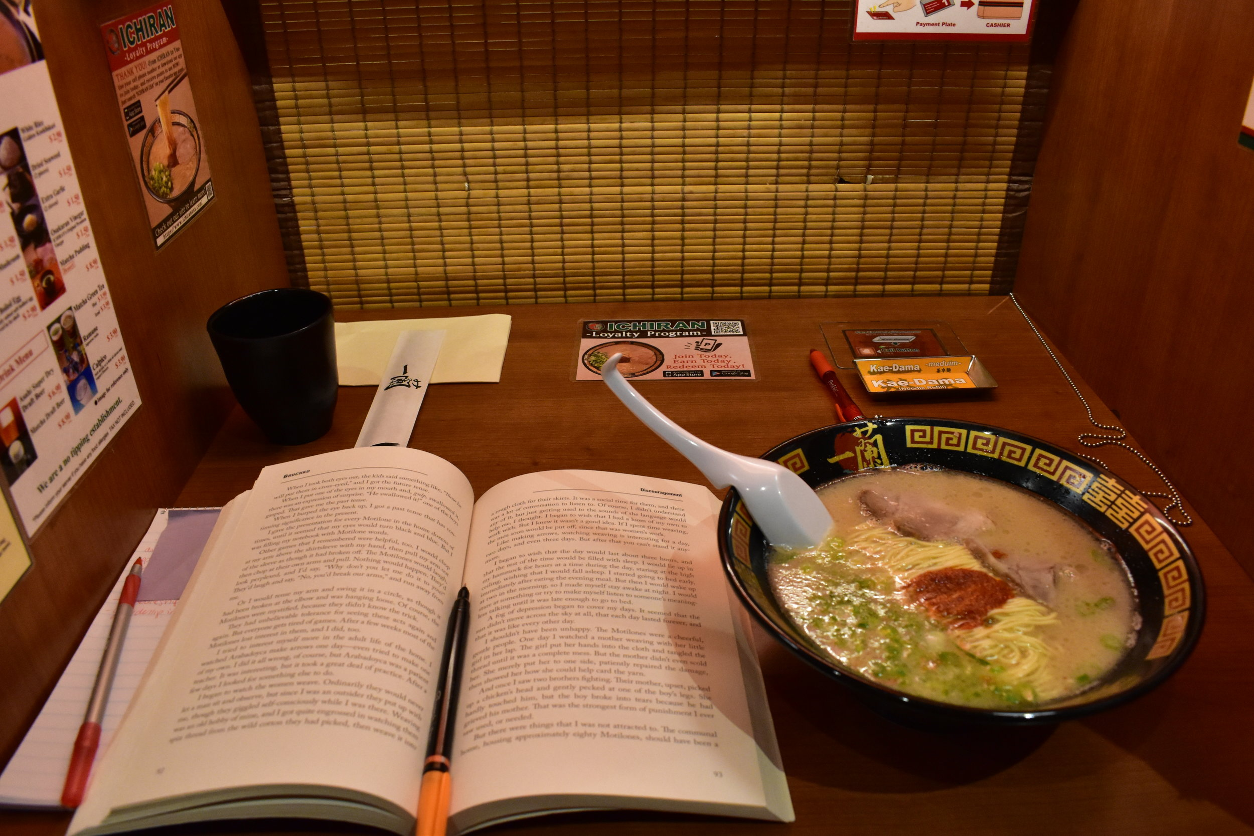 Customers order ramen with a piece of paper and a press of a button. || Photo credit to Megan Capone