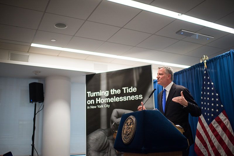 De Blasio administration announces plan to turn the tide on homelessness with Borough-based approach. || Photo credit to nyc.gov