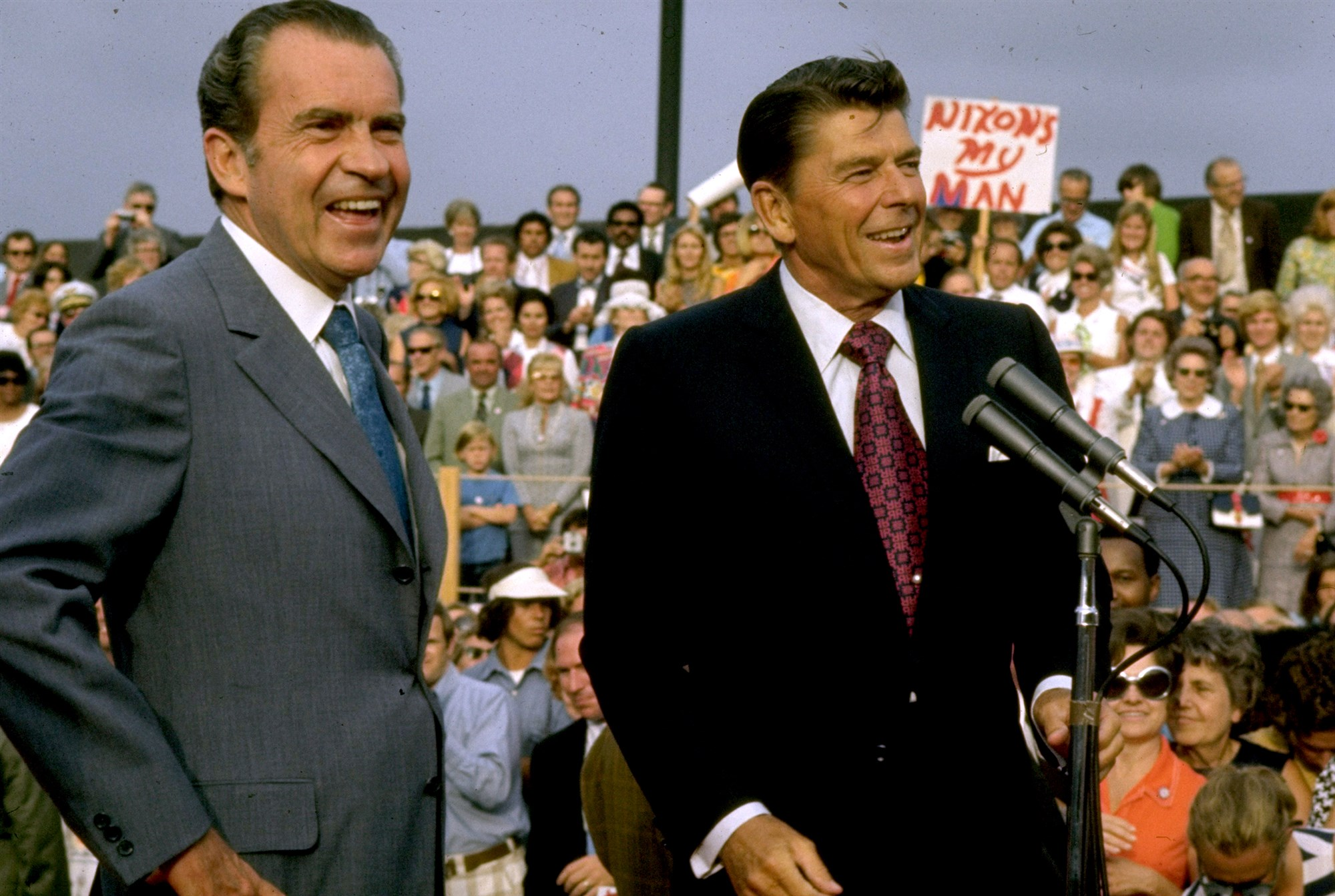 Richard Nixon and Ronald Reagan campaign in 1972. || Photo credit to Dirck Halstead from The LIFE Images Collection via Getty Images file