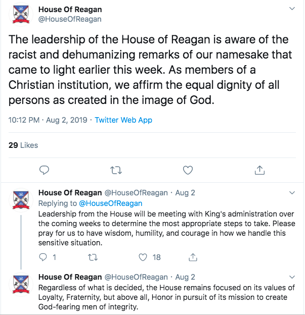 The tweets from the House of Ronald Reagan. ||