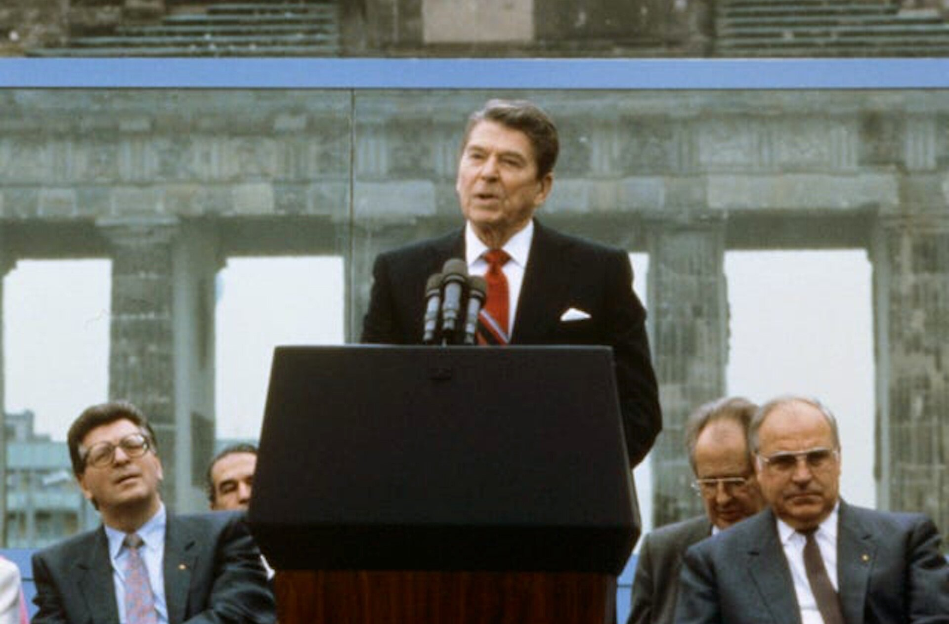 "Ronald Reagan during his ""Tear down this wall!"" speech in Berlin on June 12, 1987. 