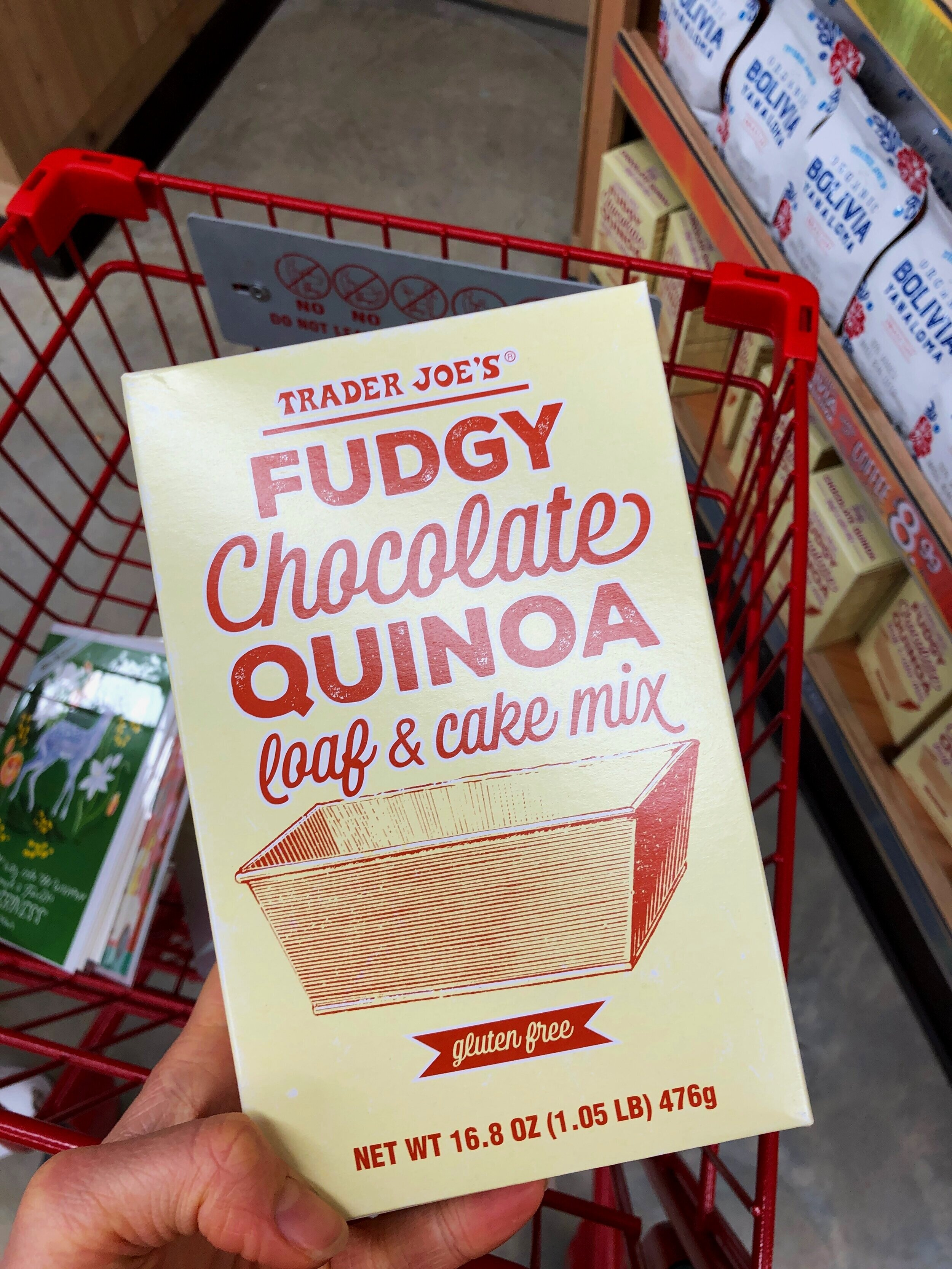 The Trader Joe's Fudgy Chocolate Quinoa Loaf & Cake Mix. ||Photo credit to Serena Tuomi
