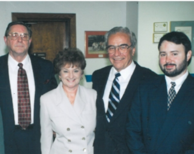 Mission West Virginia was started in 1997 by then-Governor Cecil H. Underwood to promote cooperation and support for WV Communities. Pictured, from left, are the original executive director, Rev. F. Emerson Wood, his wife, B.J. Wood, Gov. Underwood and David Rogers.