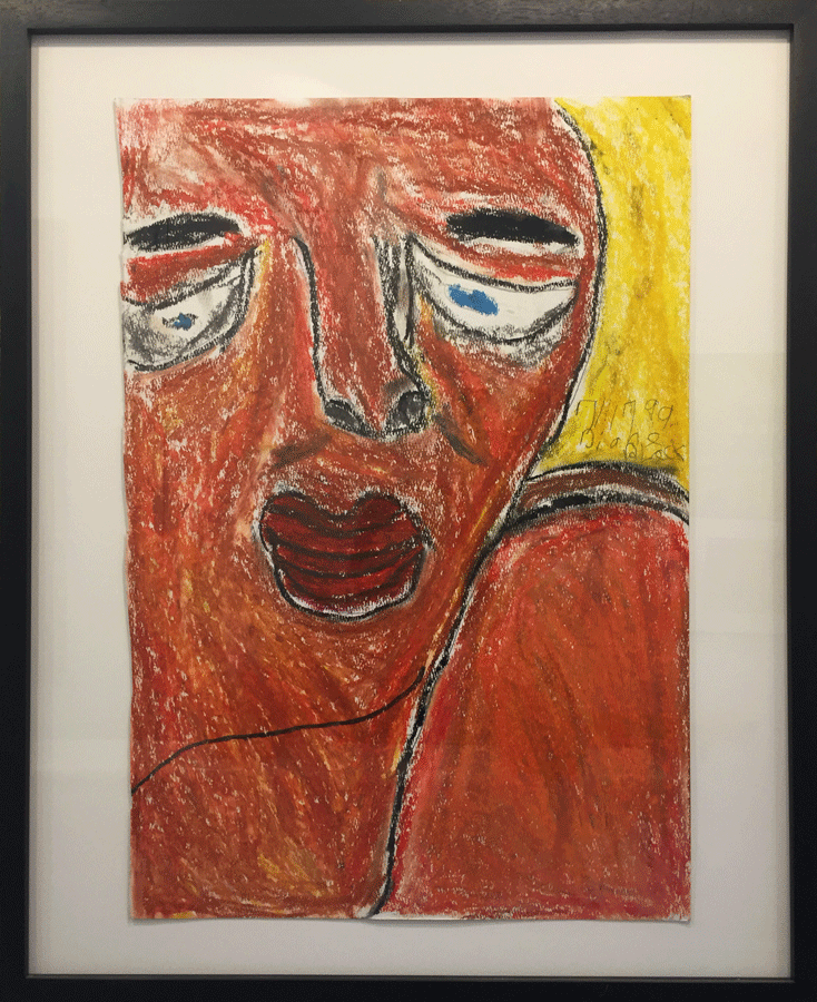 "Untitled     (Large     Face     and     Shoulder)      1999     Diane     Black     Oil    crayon,     pencil     on     paper     22     1/4""     x     15     3/4"""
