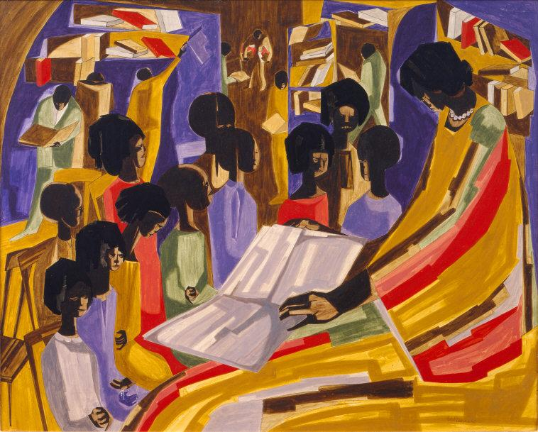 Jacob Lawrence. Library II.   1960. Image: The Jacob and Gwendolyn Knight Lawrence Foundation / Art Resource, NY ©2017 The Jacob and Gwendolyn Knight Lawrence Foundation, Seattle / Artists Rights Society (ARS), New York