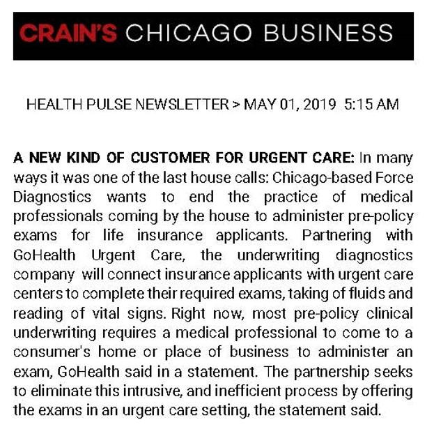 Crains Health Pulse 05-01-2019 GoHealth ForceDx PR.jpg