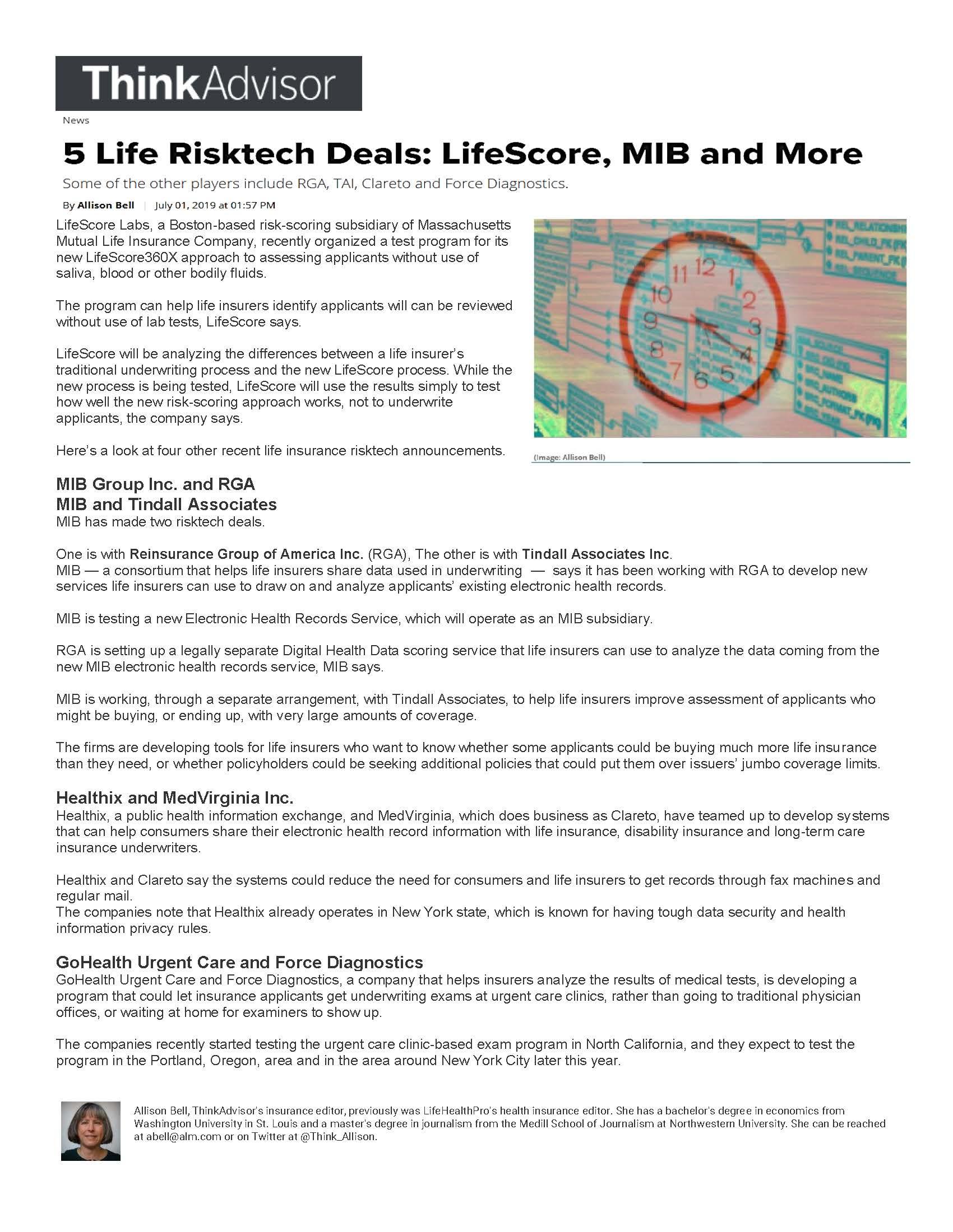 ThinkAdvisor 5 Life Risktech Deals Article 07-01-2019.jpg