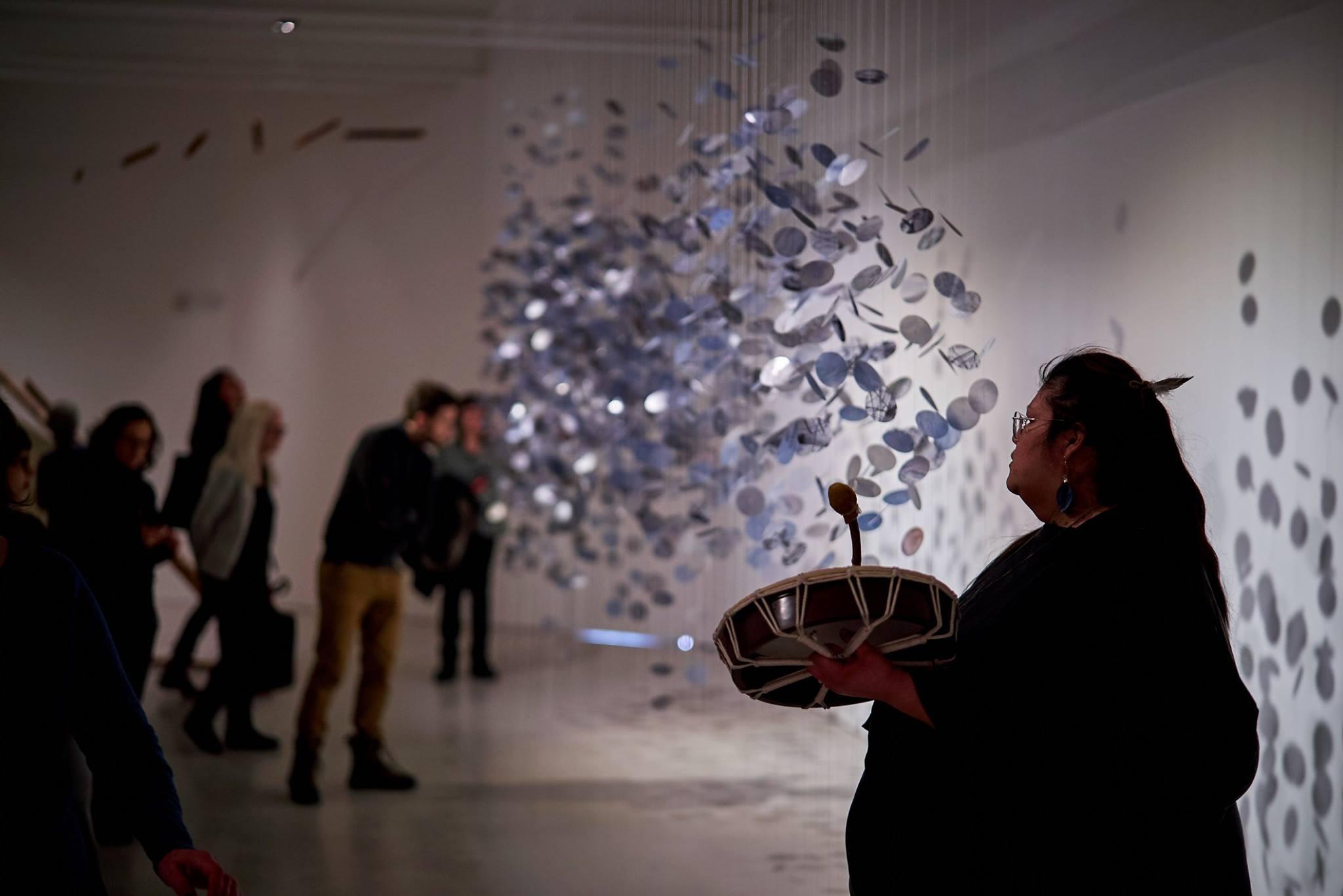 Hannah Claus, water song [Kinosipi] (exhibition view with Karine Wasiana Echakwan), 2019. Photographer: Romain Guilbault
