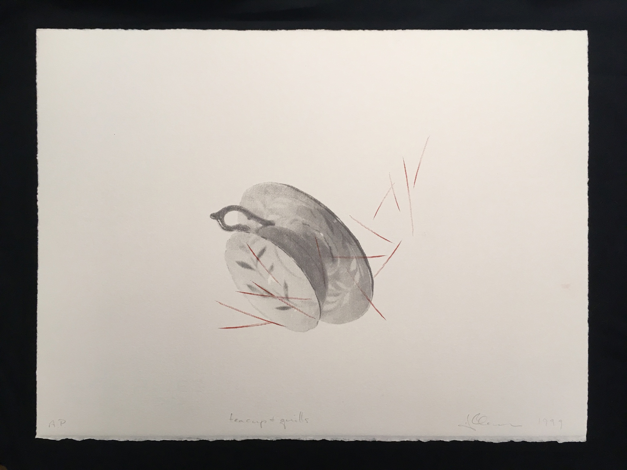 Hannah Claus, teacup and quills, screenprint on paper, 1999.  Auction item for Gabriel Family Fundraiser
