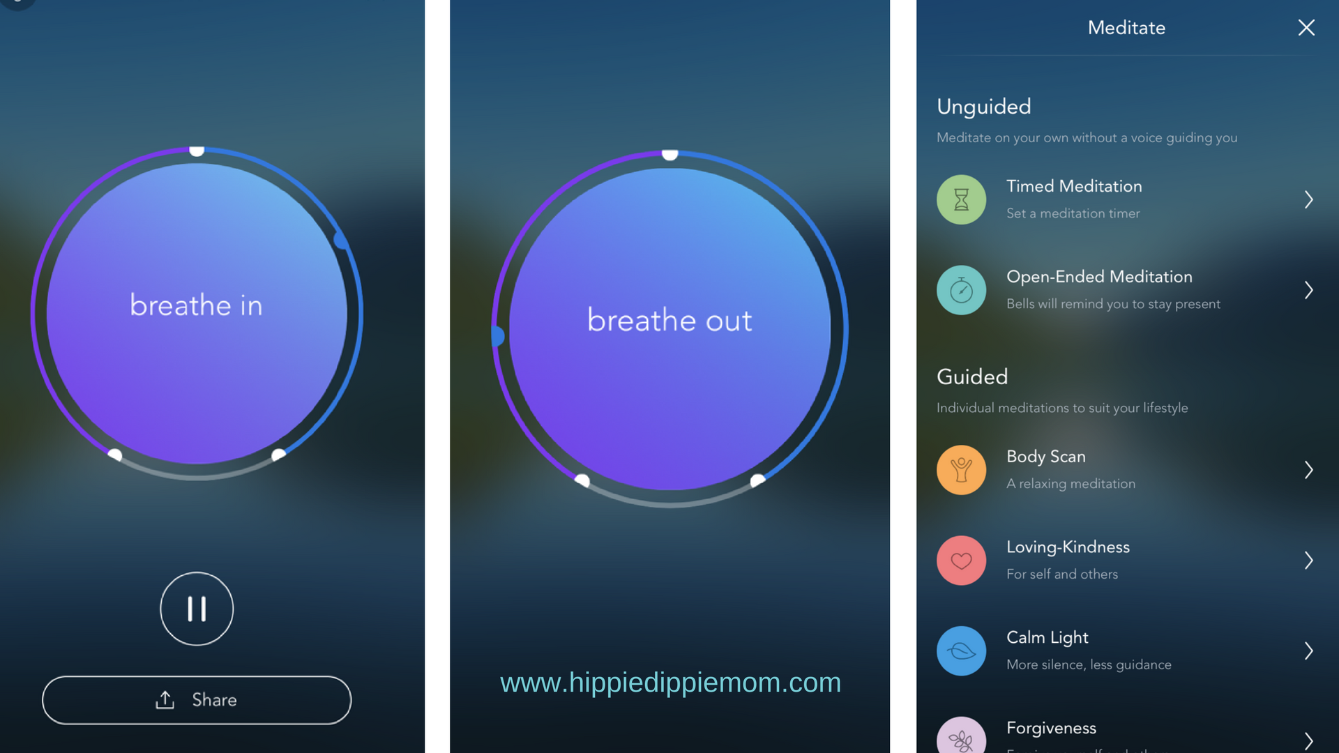 These are a couple screenshots from the calm app. the first two are of the area that helps you take deep breaths, the last shot is of some of the offered meditations.