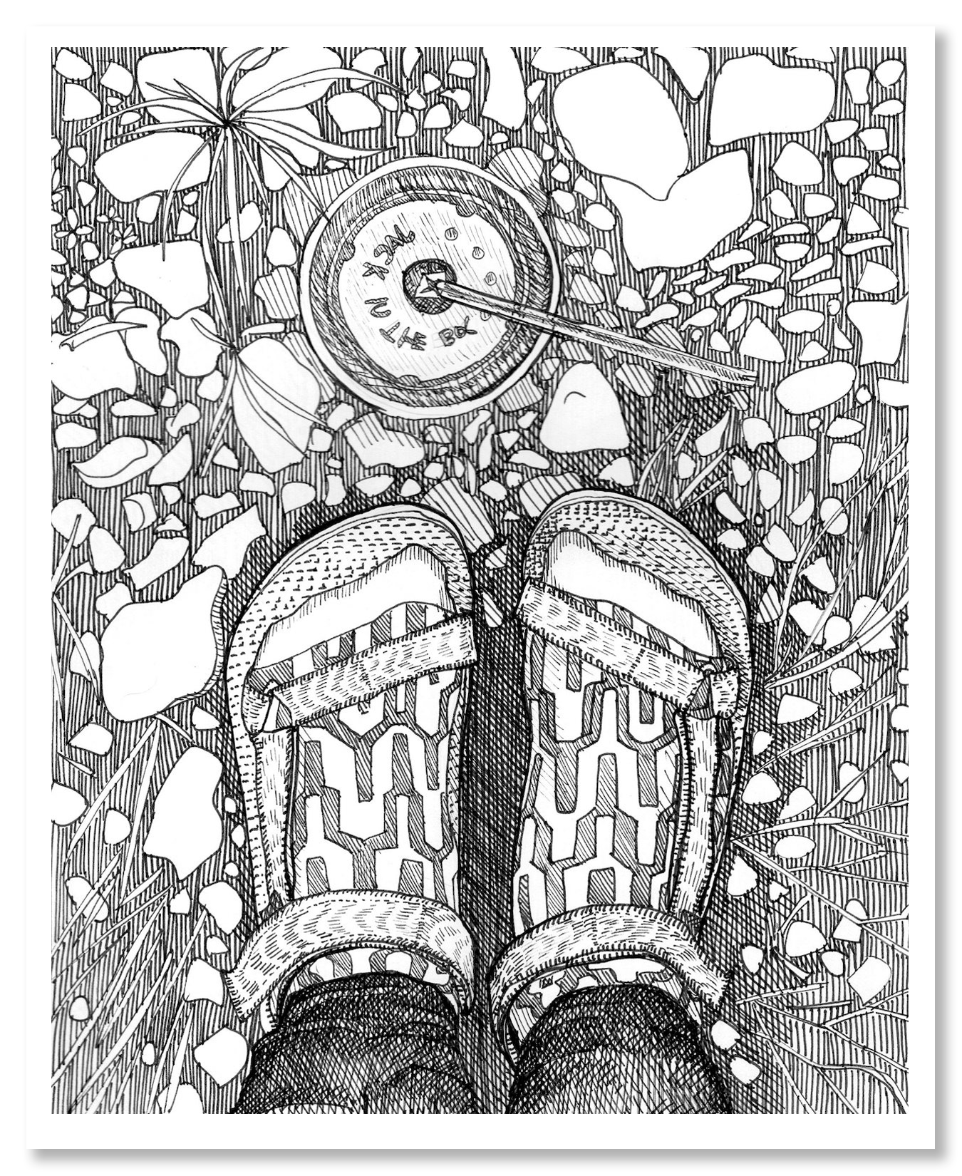 """Excerpt from 'Meant to Last'   This is one page of a 10 page illustrated zine.  Created for the Lion's Main Art Collective's pop-up show, 'Erasure'.  8.5""""x10""""  Pen on Paper, 2016"""