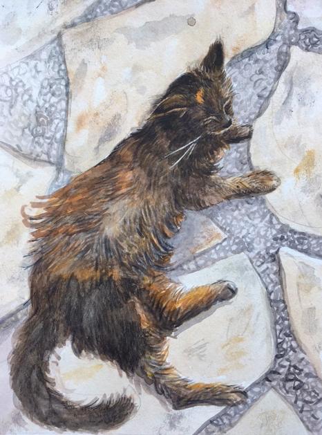 "Pet Portrait    Commission for Aaron's Mom  7x10""  Watercolor on paper, 2017"