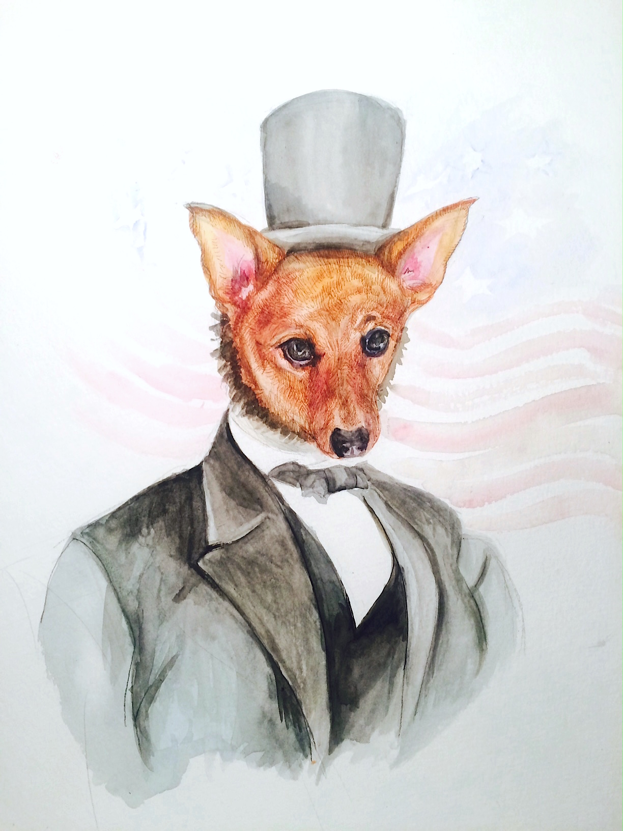 """Jenn's Dog as Abe Lincoln   Commission for Jenn  10""""x15""""  Watercolor on paper, 2015"""