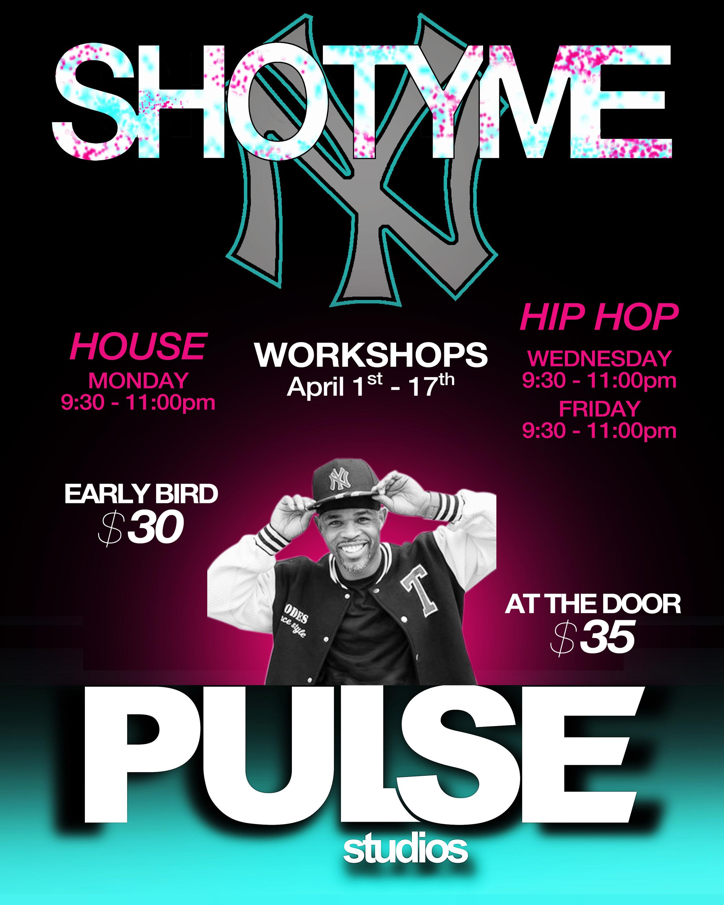 Shotyme Workshops - April 1- 17th