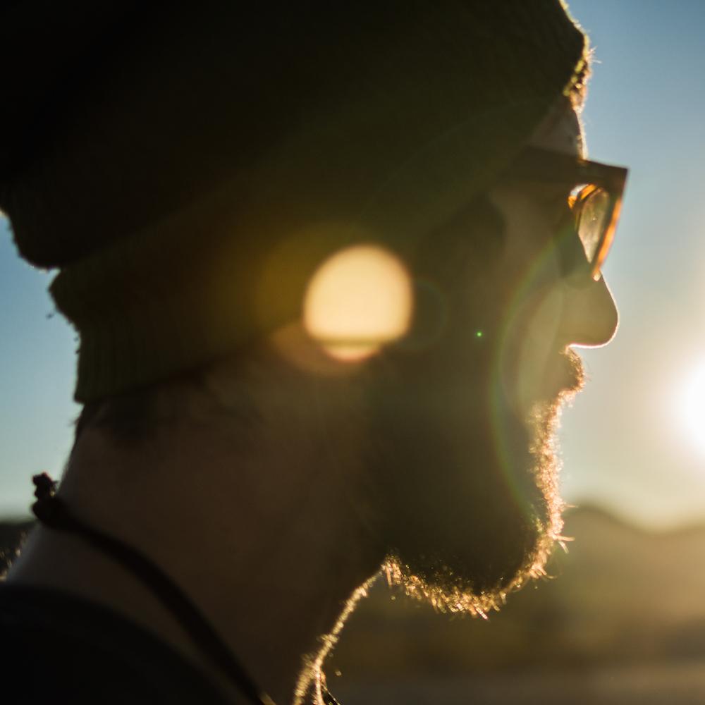 Mike Wojniak looking toward the sunset.
