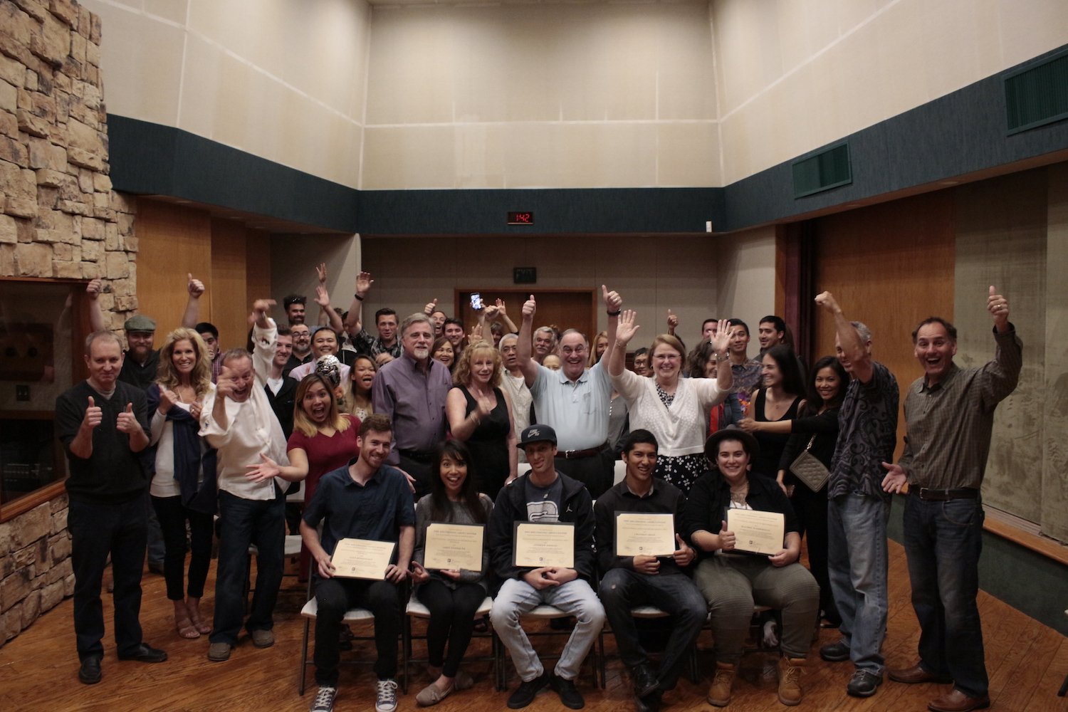 Graduates surrounded by family, friends, and Studio West and The Recording Arts Center staff. Mark Kirchner (far right in photo), former Chief Academic Officer, flew down from the Bay Area for the event.