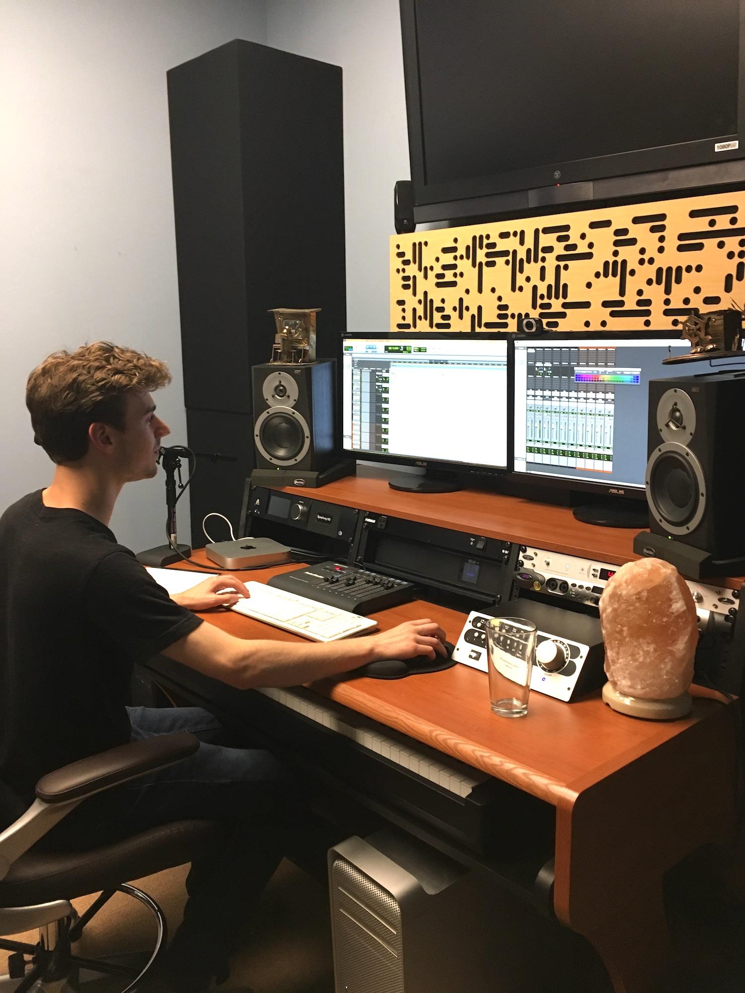 Sam McCormick at work at Amper Music in Santa Monica, California.