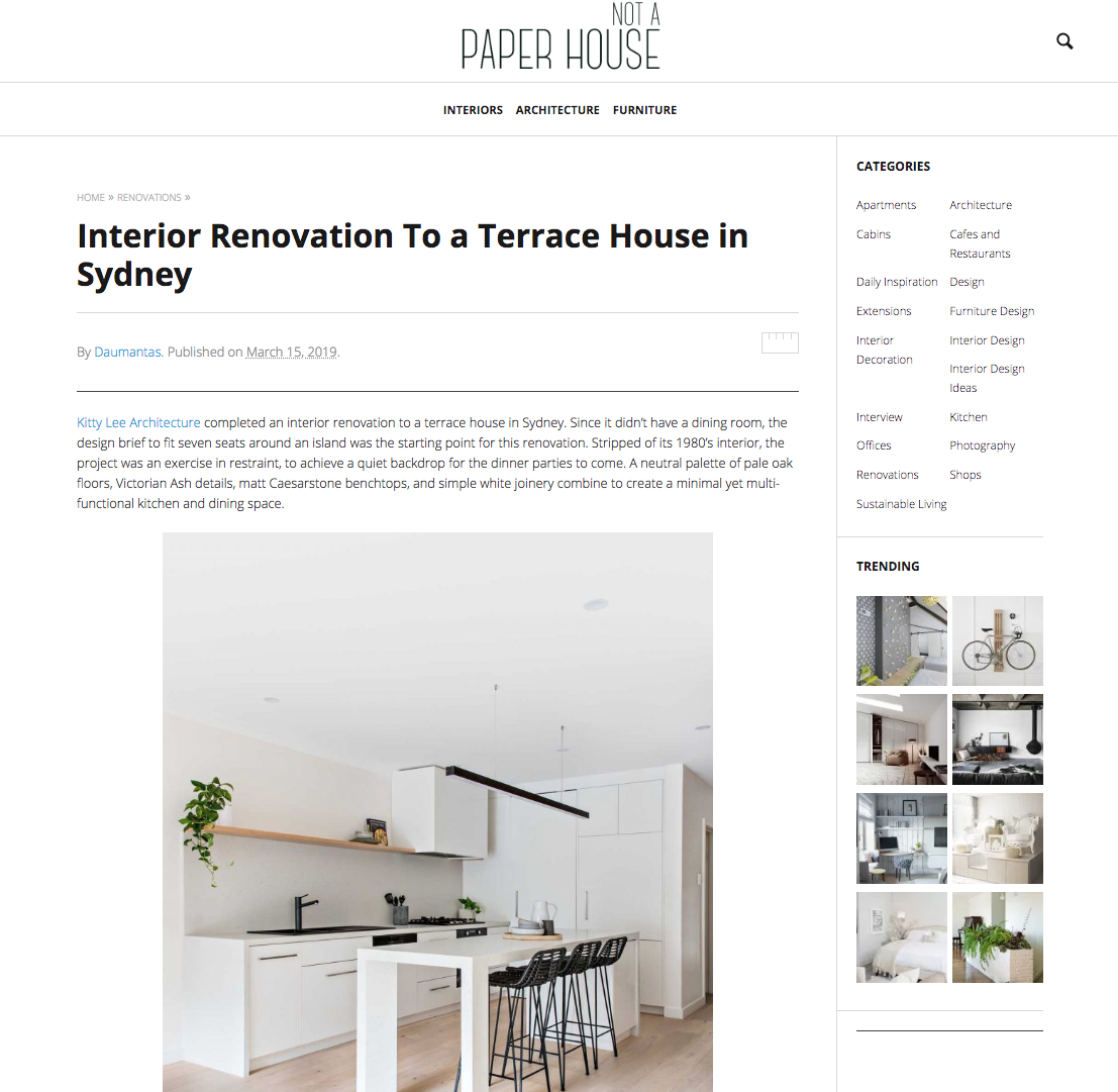 Not A Paper House March 2019 | Interior Renovation to a Terrace House in Sydney