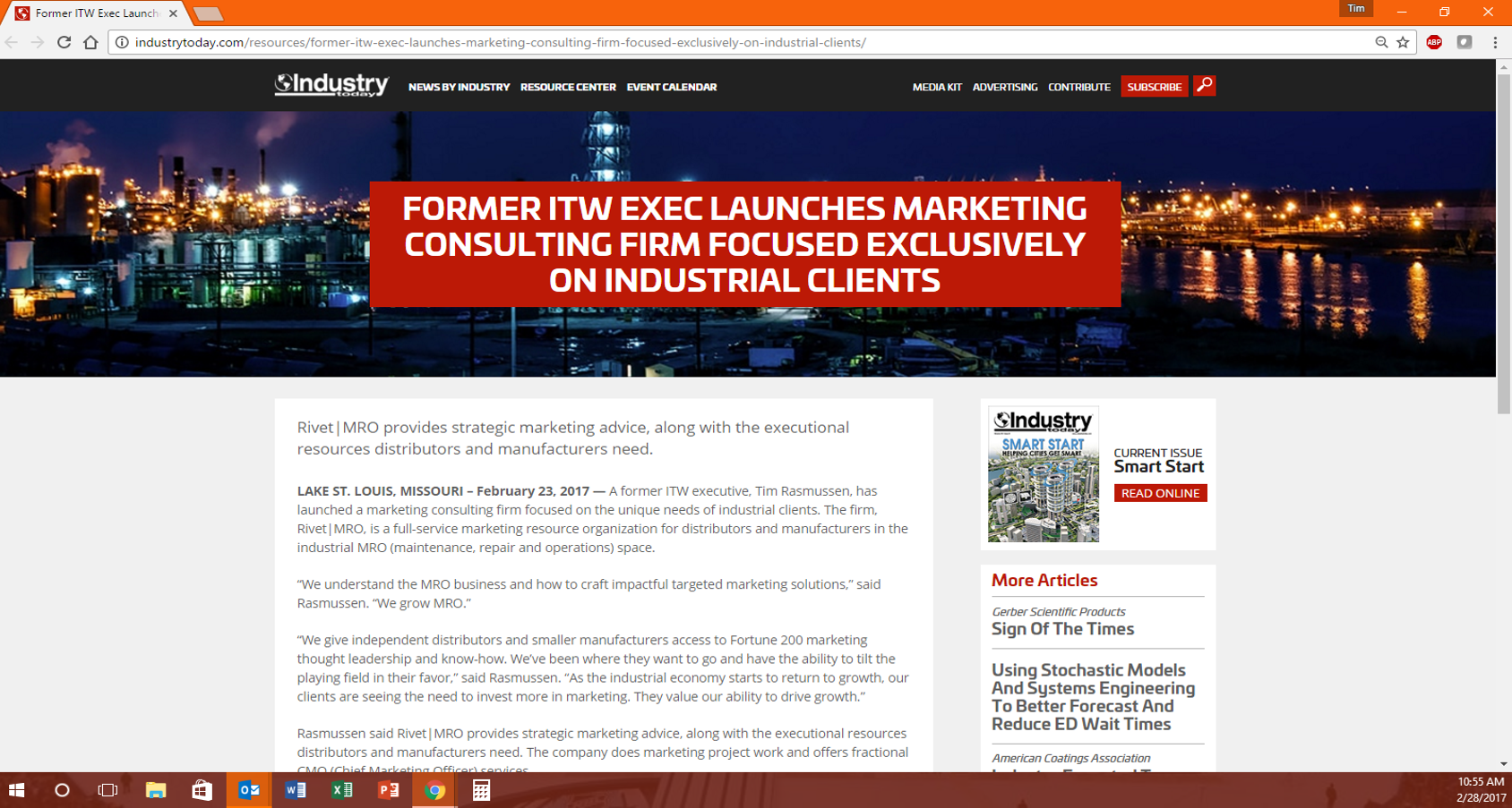 As seen on IndustryToday.com. Click  here  to view article.