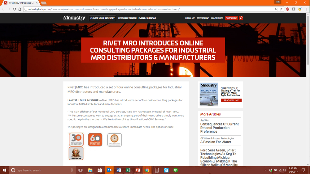 Click  here  or on the image above to see Industry Today's coverage of Rivet|MRO's new online marketing consulting packages for industrial distributors and manufacturers.