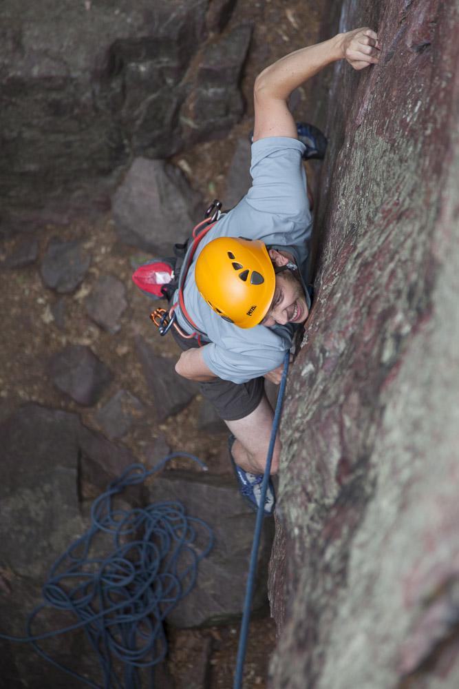 Dawson grits hard on Weeping Wall (5.9)