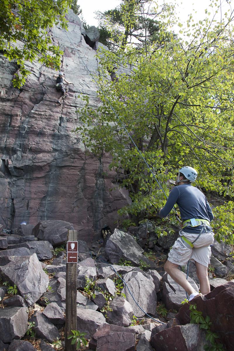 John belays Marianne on Watermarks (5.8), Balanced Rock Wall