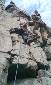 Jeremy on mock lead whil Nick ascends a static line next to him