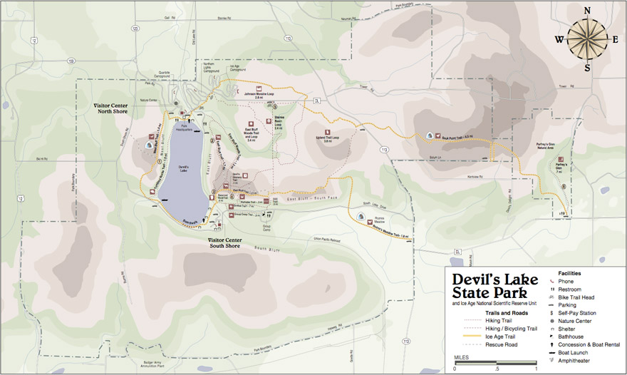 Devil's Lake State Park Trail Map (click for expanded, downloadable map)