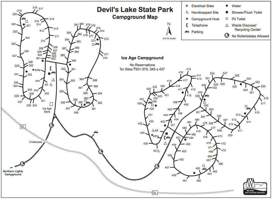 Ice Age Campground Map, Devils Lake State Park