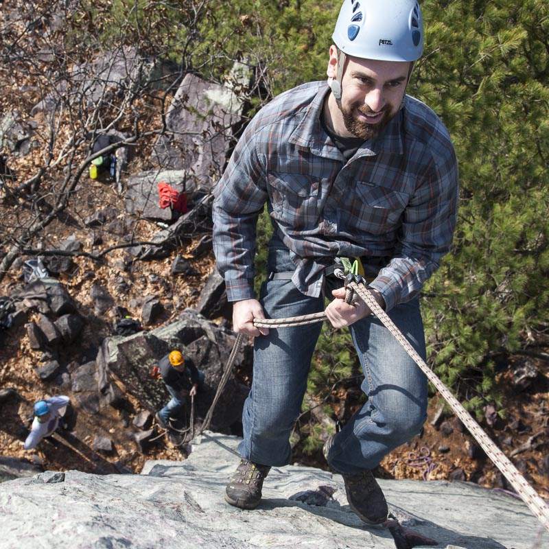 Kayne on rappel at Horse Rampart, Devil's Lake.