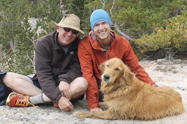 Bridger Mann-Wood with his dad and dog.