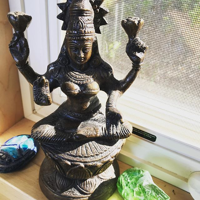 My mama gave me the Lakshmi goddess statue to remind me to keep my heart open, be generous, and let the prosperity blossom in every way.