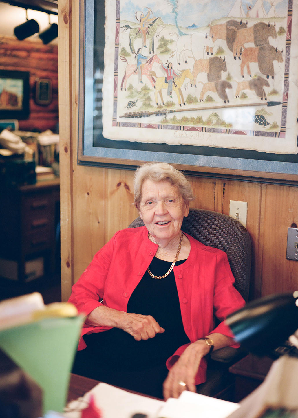 Clarene working at her flagship motel, The Antler, in Jackson, Wyoming.