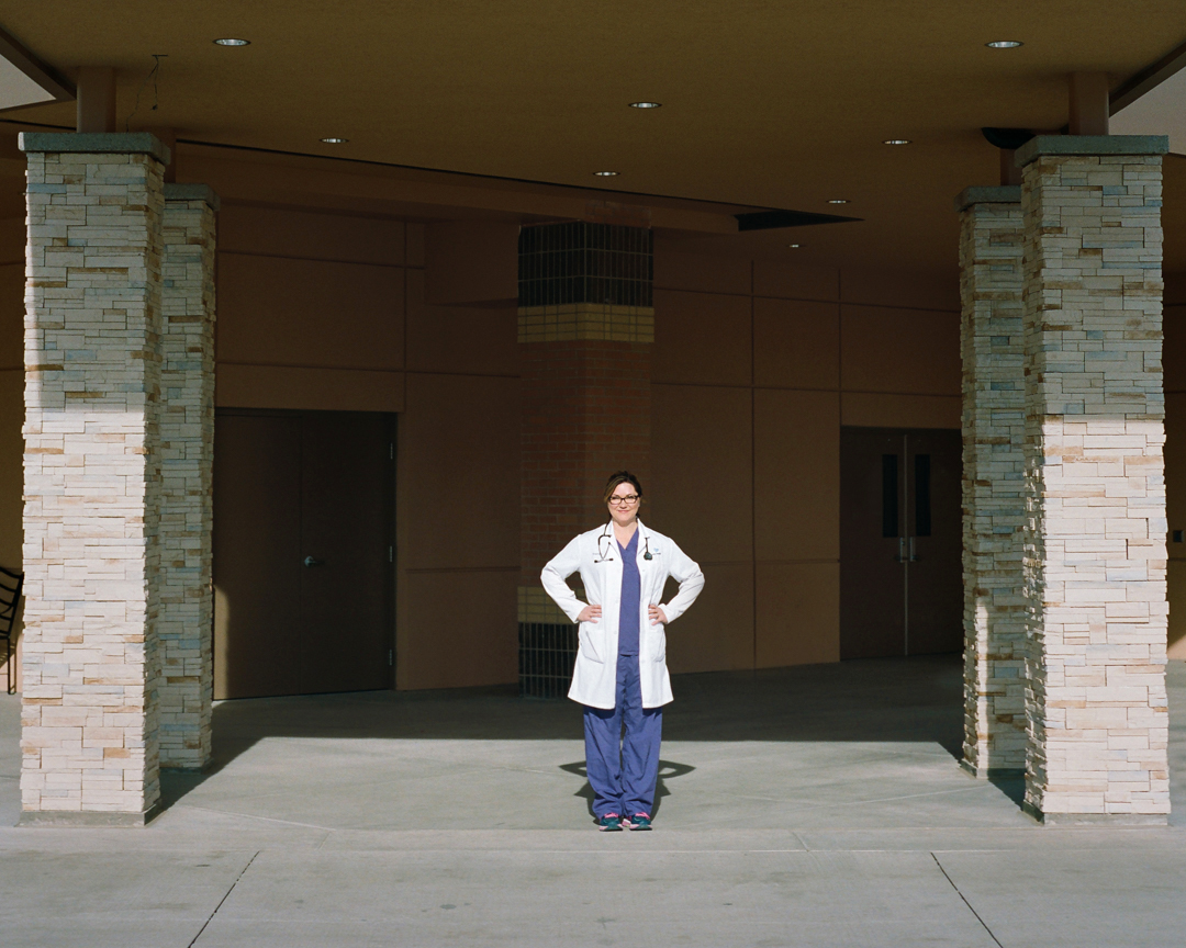 Dr. Diane outside of the emergency room in Worland, Wyoming.