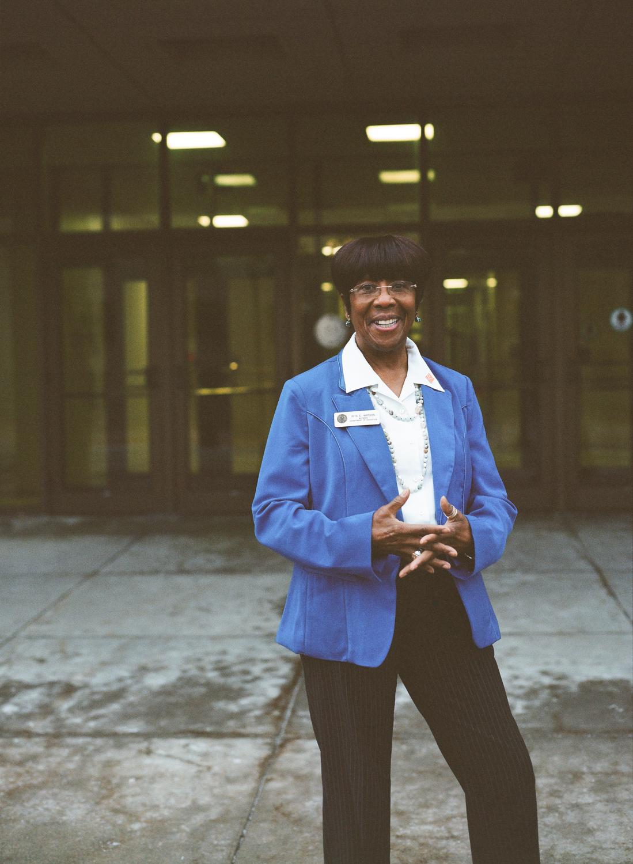 Rita Watson outside the Wyoming Department of Education in Cheyenne, Wyoming. Rita has worked for every Wyoming Superintendent of Education since 1974.