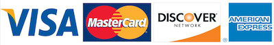 We accept most cards including Visa, MasterCard, Discover, and Amex.