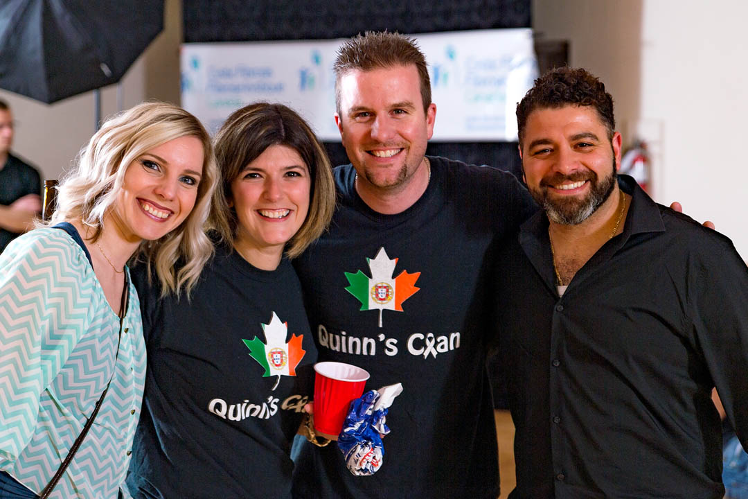 "Ryan and Cristina, the organizers of the fundraiser with a few friends. I was honoured to photograph the event. The extended family all wore the ""Quinn's Clan"" t-shirts!"