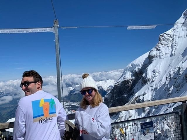 "We're on top of the world! 🏔🍹 Thanks for the tag and shoutout from @ethanleichter. ""Big fans of your drinks! Wore your shirt to the top of Jungfraujoch in Switzerland!"""