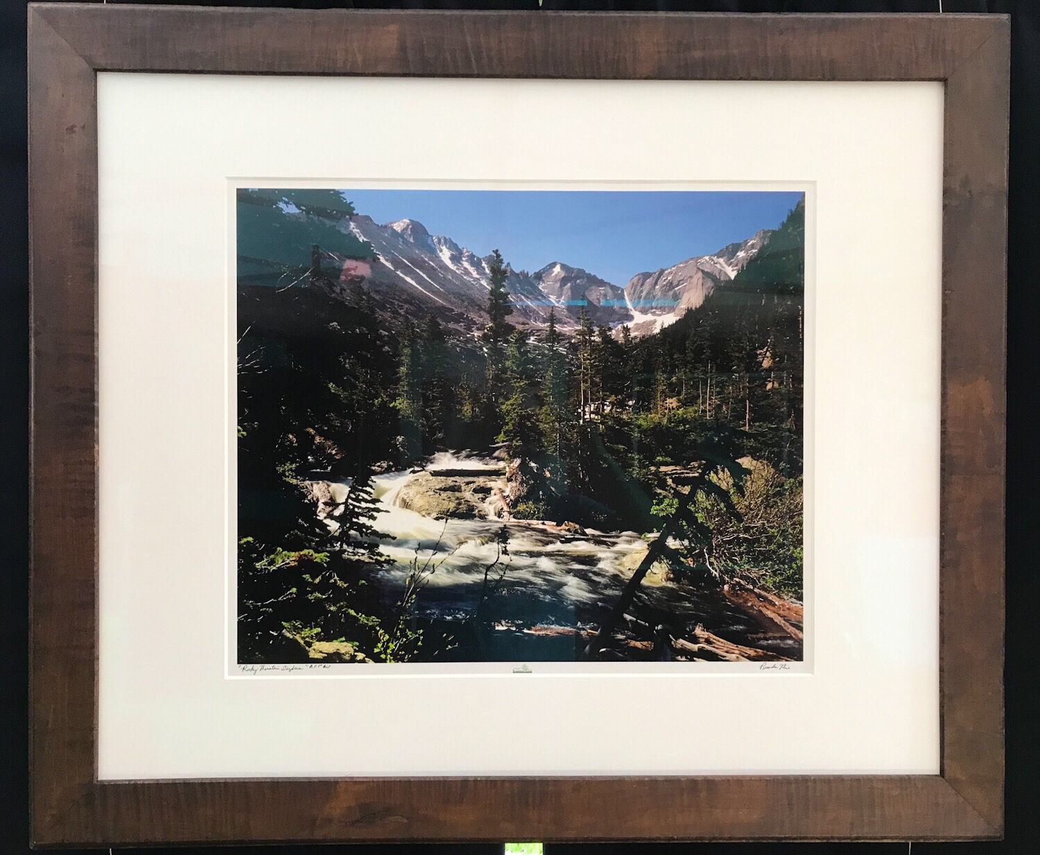 """Rocky Mountain Daydream"" or Your Choice! - 20x24 print, 30x36 mat and museum glass, custom curly maple frame 36x42 outer dimensions - Brandon Kline"