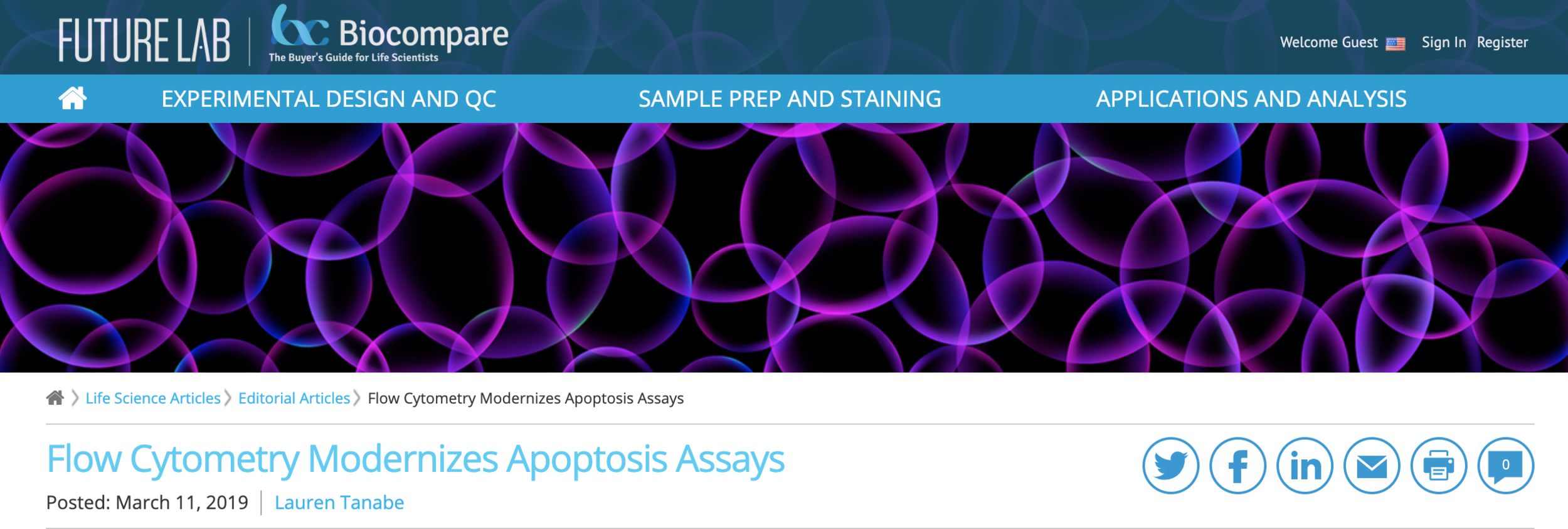 Flow Cytometry Modernizes Apoptotic Assays, BioCompare, March 11, 2019 -
