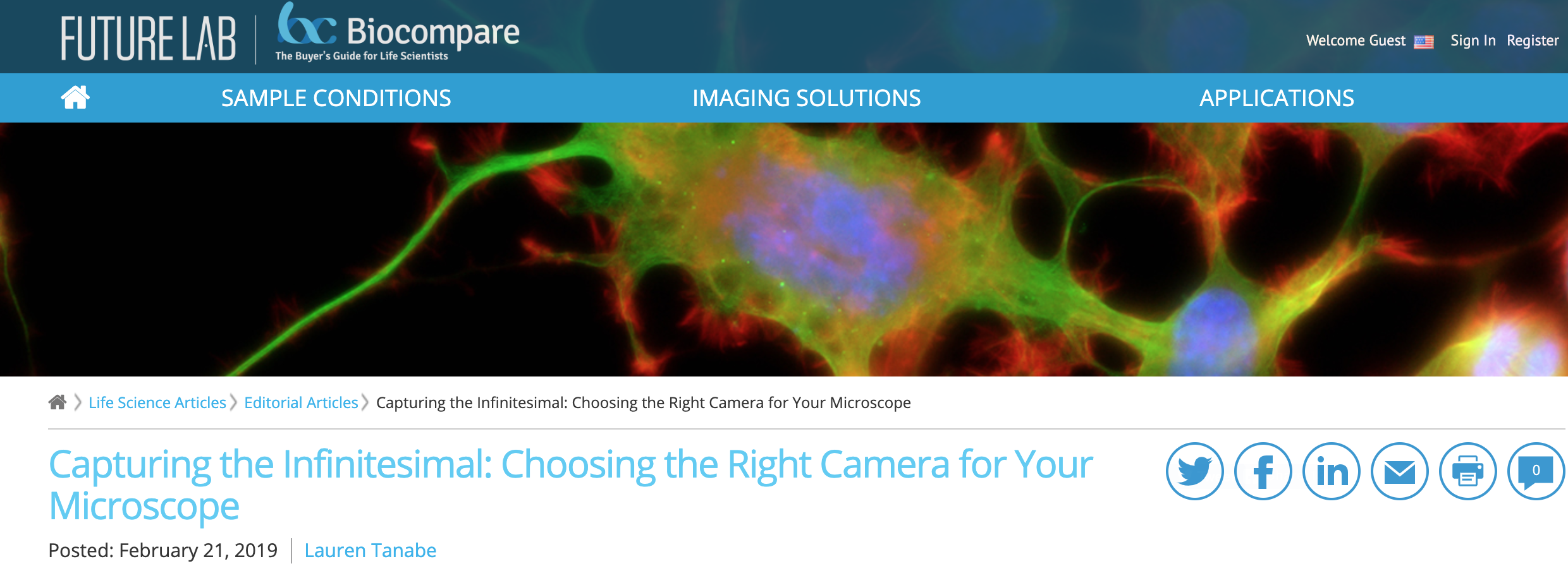 Capturing the Infinitesimal: Choosing the Right Camera for Your Microscope, BioCompare, February 21, 2019 -