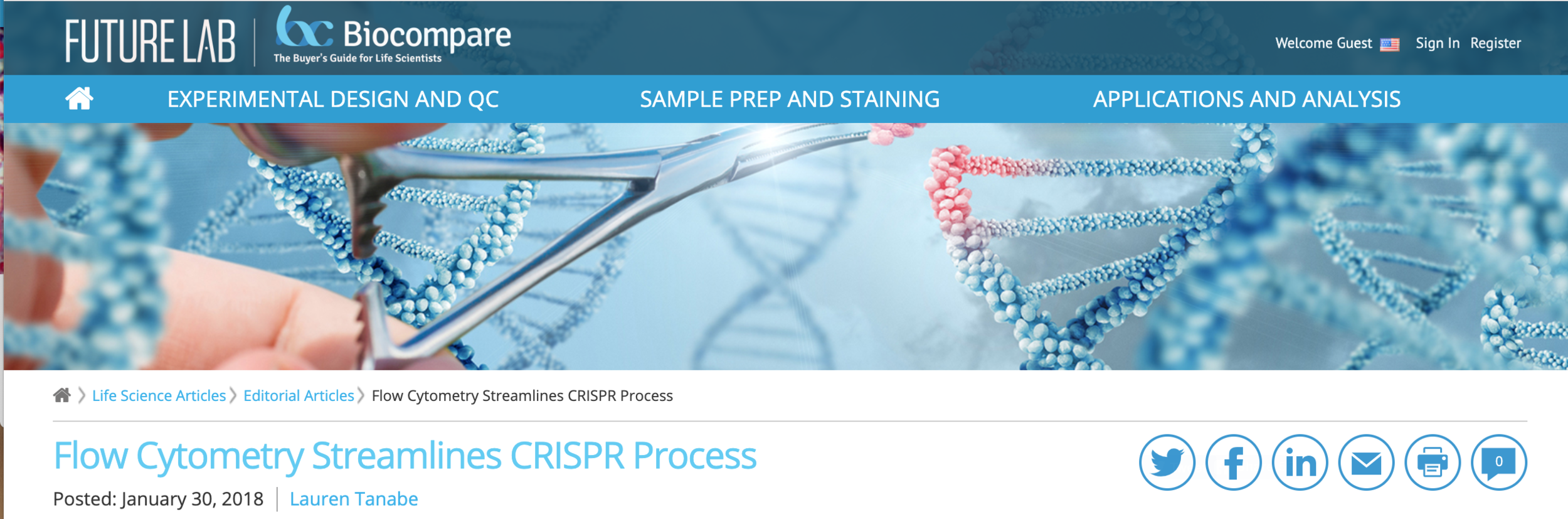 Flow Cytometry Streamlines CRISPR Process, BioCompare, January 30, 2018 -