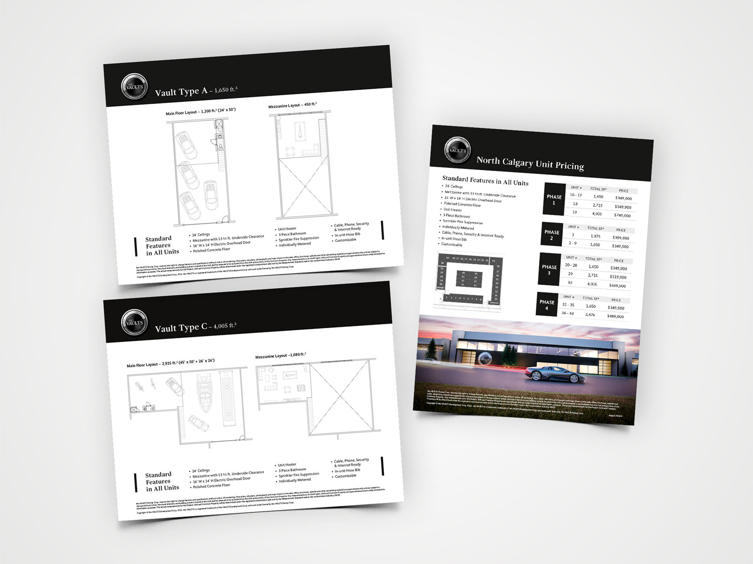 the Vaults floorplans and price list sheets